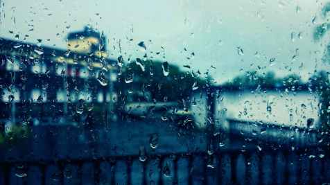 Rain windowpane city